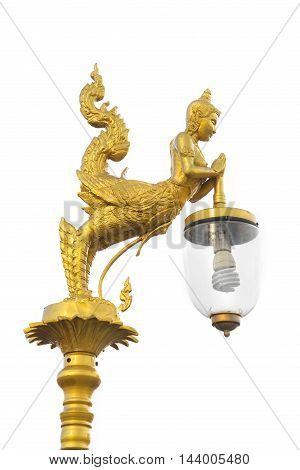 Golden Light Bulb For Decoration Isolate On White Background