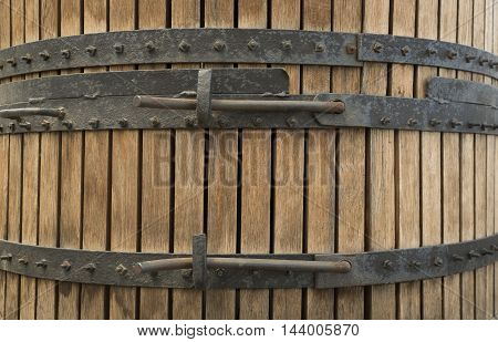 Antique Wine Cellar with Rusty Wooden Barrels.