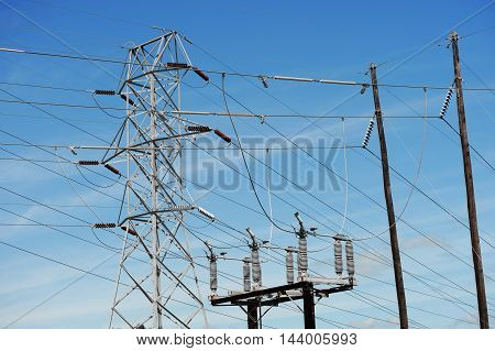 high voltage power transmission tower and pole