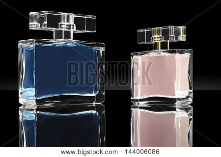 dark image of cosmetics fragrances in crystal container