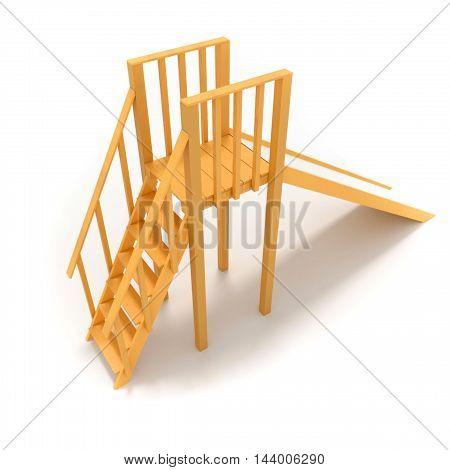 Childrens wood slide 3D render illustration isolated on white background