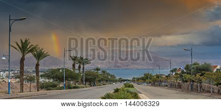 Stormy weather in local street running to the Red Sea, Eilat, Israel