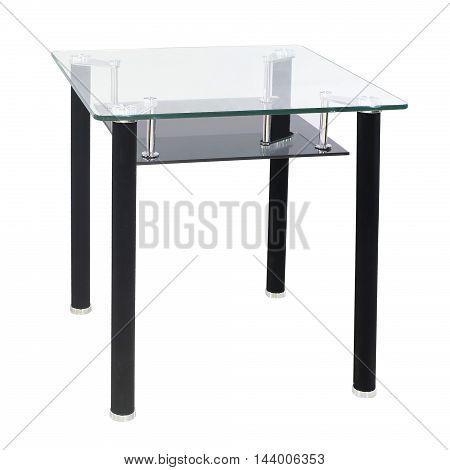 Modern dining glass top table isolated on a white