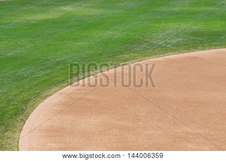 close up on baseball playing field for design