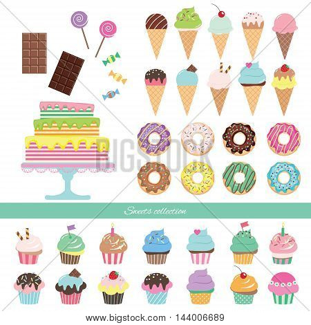Birthday set with different sweets isolated on white.