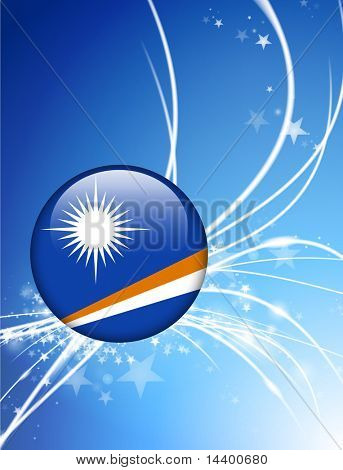 The Marshall Islands Flag Button on Abstract Light Background Original Illustration