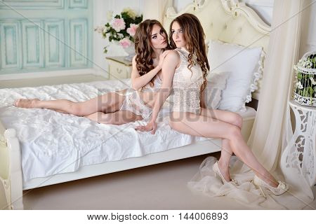 Female Portrait Of Cute Twins In Underwear Indoors. Close-up Beautiful Sexy Model Girls In Elegant P