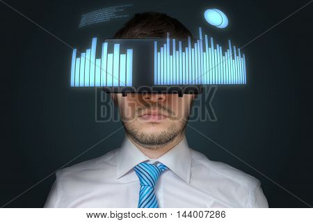 Young Businessman Is Wearing 3D Virtual Reality Headset. Statist