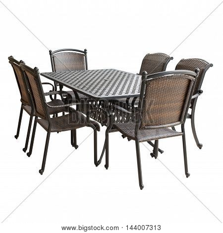 Wicker furniture set isolated on a white