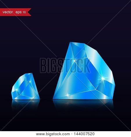 Diamond isolated on dark background, blue color, vector illustration