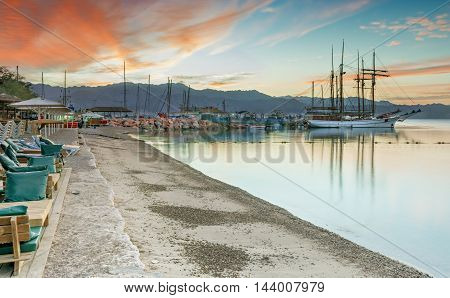 View on marina with moored yachts in Eilat, Israel