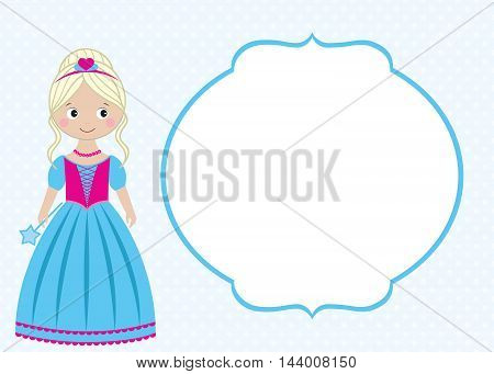 Vector blue princess card template with the frame