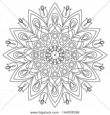 Vector decorative element mandala in black and white.