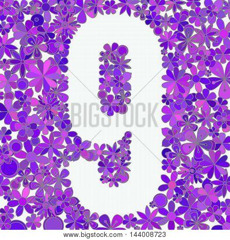Vector number nine made of blue flowers.