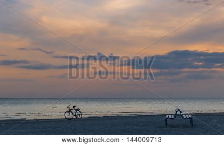 Coastal landscape at the famous International resort of Jurmala, Latvia. The photo was taken after sunset