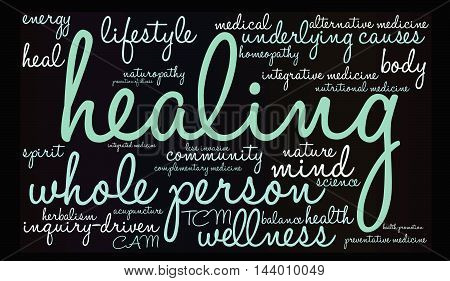 Healing Word Cloud on a black background.