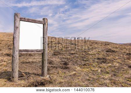 Blank Billboard Wooden In The Mountain Landscape
