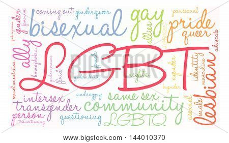 LGBT word cloud on a white background.