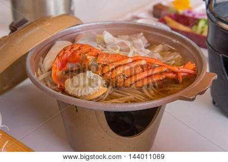 Japanese Seafood Hot Pot With Beef And Shrimp Or Lobster
