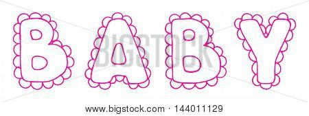 Baby lace word girl pink lettering line art vector