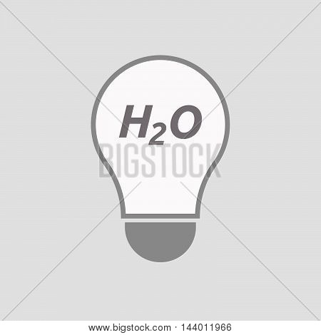 Isolated Line Art Light Bulb Icon With    The Text H2O