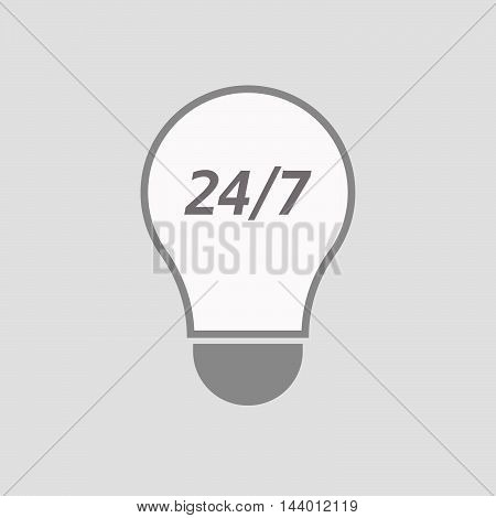 Isolated Line Art Light Bulb Icon With    The Text 24/7
