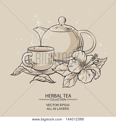 Illustration with cup of tea teapot and hibiscus flower on brown background