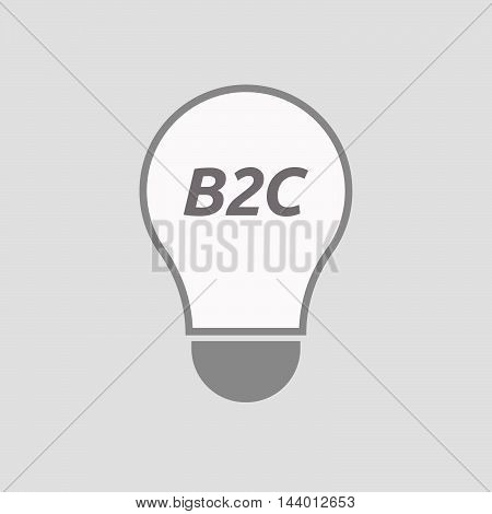 Isolated Line Art Light Bulb Icon With    The Text B2C
