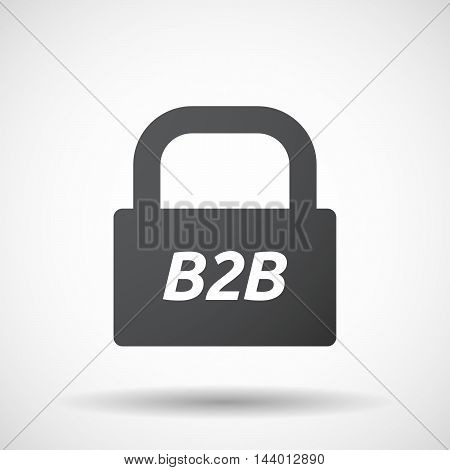 Isolated Closed Lock Pad Icon With    The Text B2B