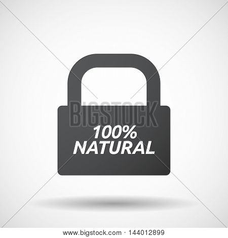 Isolated Closed Lock Pad Icon With    The Text 100% Natural