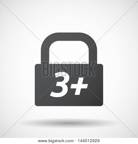 Isolated Closed Lock Pad Icon With    The Text 3+