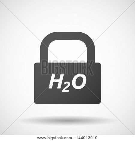 Isolated Closed Lock Pad Icon With    The Text H2O