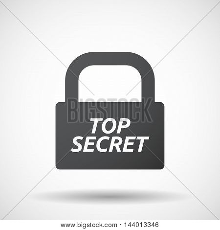 Isolated Closed Lock Pad Icon With    The Text Top Secret