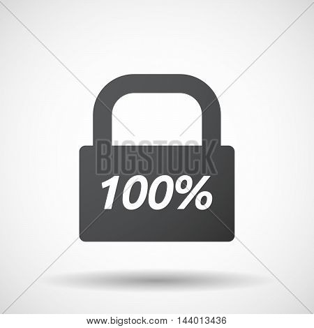 Isolated Closed Lock Pad Icon With    The Text 100%