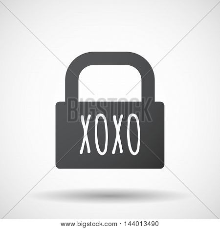Isolated Closed Lock Pad Icon With    The Text Xoxo