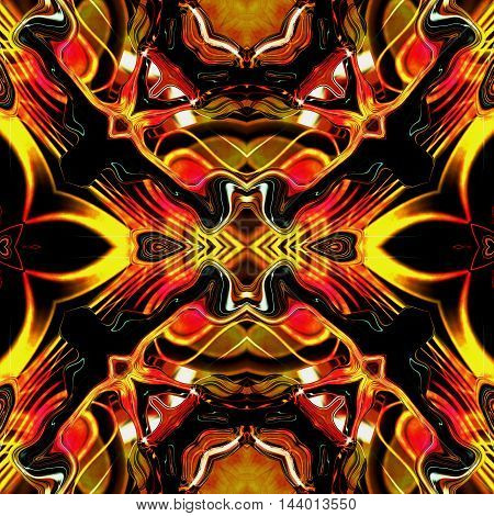 Dynamic seamless infernal pattern with stylized flames and rays. Red and yellow glowing seamless pattern on a black background