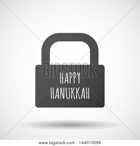 Isolated Closed Lock Pad Icon With    The Text Happy Hanukkah