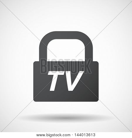 Isolated Closed Lock Pad Icon With    The Text Tv