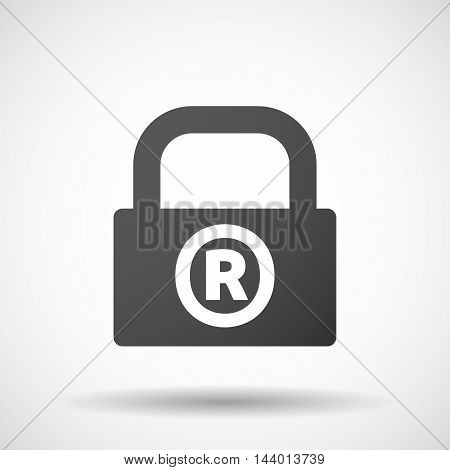 Isolated Closed Lock Pad Icon With    The Registered Trademark Symbol