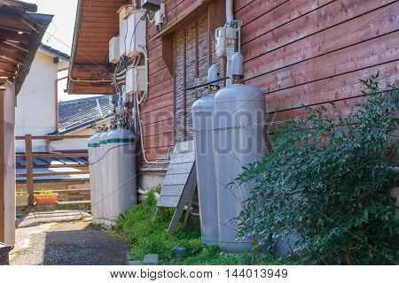 Gas Tank For Household In Winter At Japan