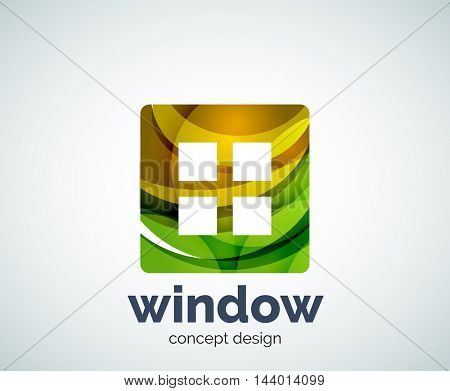 Window logo template, abstract vector business icon