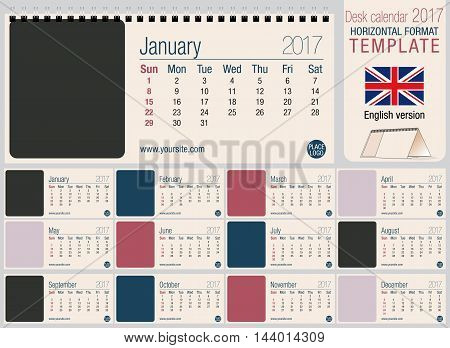 Useful desk triangle calendar 2017 template, ready for printing. Size: 220mm x 100mm. Format horizontal. English version