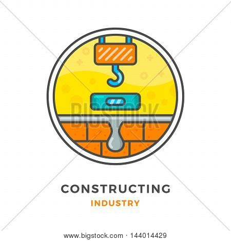 Constructing industry concept isolated on white. Vector illustration