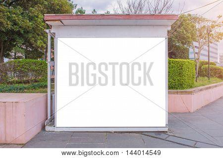 Empty Billboard Or Information Board In City Park