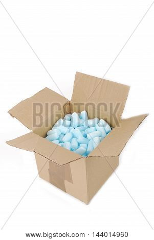 closeup of the box with fragile foam packing
