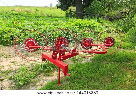 special agricultural tractor equipment to collect the hay