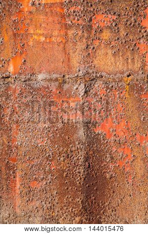 Old Red Rusted Iron Plate, Vertical Photo Texture