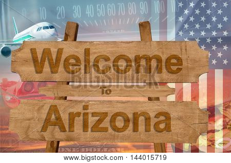 Welcome To Arizona In Usa Sign In Wood, Travell Theme