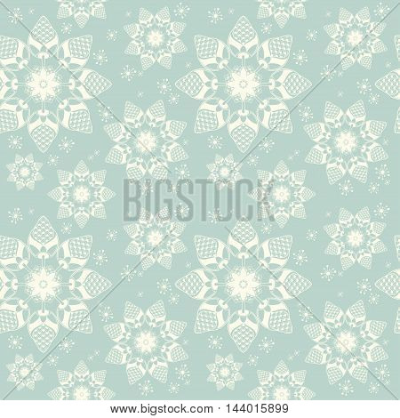 Vintage seamless background with snowflakes. Vector snow pattern