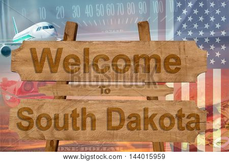 Welcome To South Dakota State In Usa Sign On Wood, Travell Theme